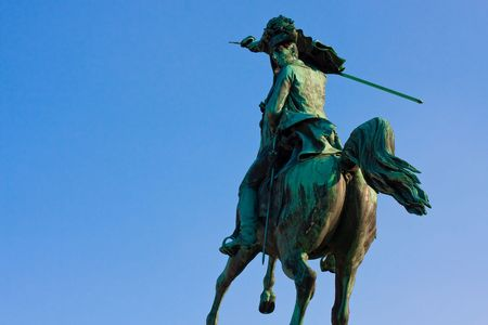 Statue of Archduke Charles of Austria before blue sky, Heldenplatz, Vienna, Austria photo