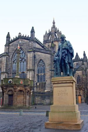 Adam Smith memorial statue before St. Giles Cathedral, Edingburgh, Scotland