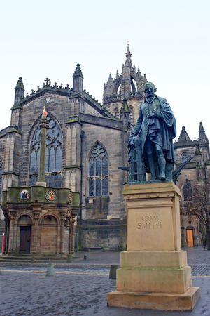 smith: Adam Smith memorial statue before St. Giles Cathedral, Edingburgh, Scotland