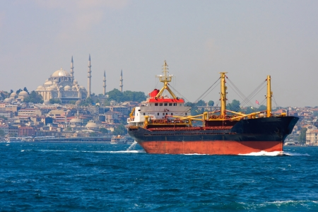 Freighter before Istanbul Skyline, Turkey photo