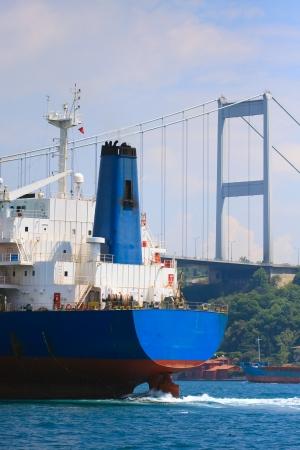 marmara: Freighter in the Bosporus Strait before trans-continental bridge