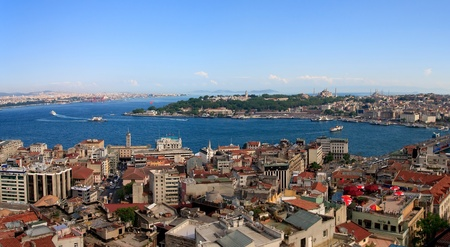 Istanbul Golden Horn Panorama from Galata Tower, Turkey photo