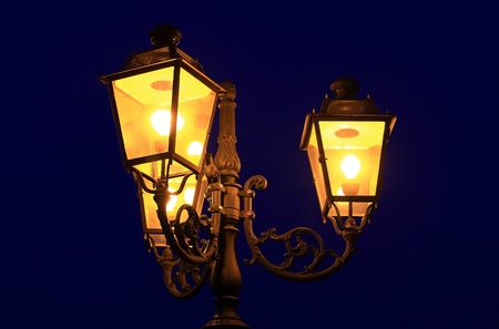lamp light: Three old lanterns @ dusk