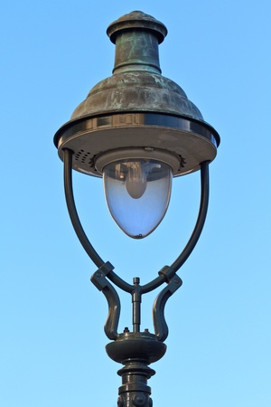Old Fashioned Street Lamp Close Up View before Blue Sky Stock Photo - 9455742