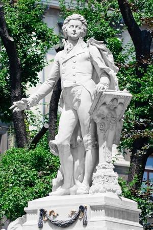 Mozart Memorial  Monument in Vienna Burggarten, Austria