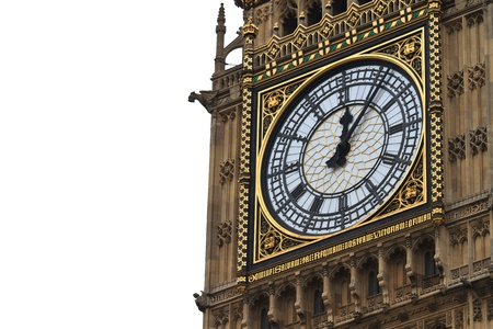 Big Ben Details with white background  photo