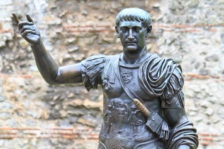 Trajan Statue, Roman Walls, London - UK
