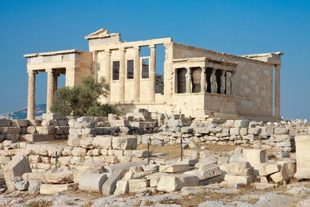 Erechtheion temple panorama, Acropolis, Athens, Greece photo