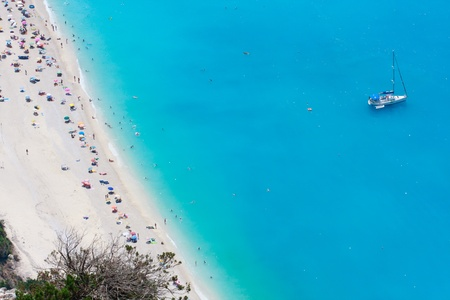 Myrtos dream beach aerial view with yacht photo