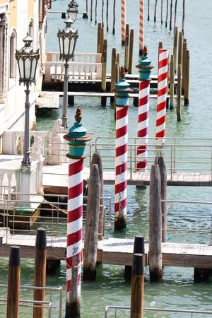 Gondola landing places, Canale Grande, Venice, Italy photo