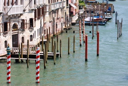 Gondola landing places, Canale Grande, Venice, Italy photo