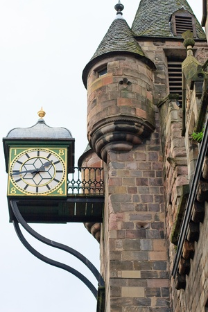 Edinburgh house facade detail with iron clock Stock Photo