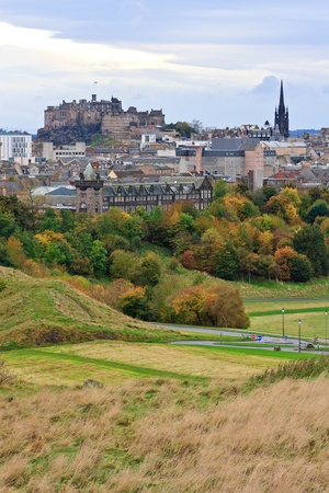 Edinburgh Castle and Town seen from the foot of Arthur�s seat photo