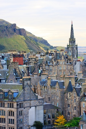Edinburgh Street Panorama with Arthurs seat in background photo