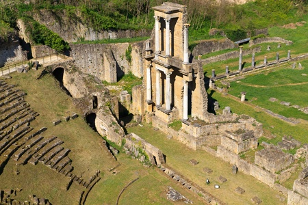 Remains of Roman Amphitheatre in Volterra, Tuscany, Italy Stock Photo