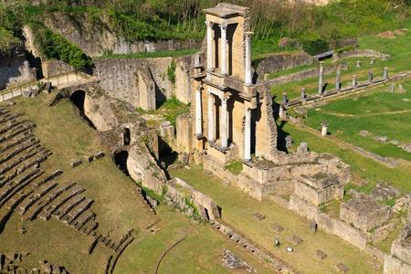 volterra: Remains of Roman Amphitheatre in Volterra, Tuscany, Italy Stock Photo