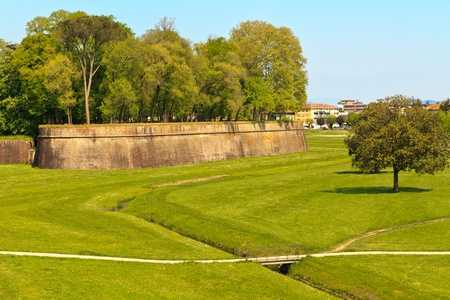 Lucca city wall fortifications in spring, Tuscany, Italy photo
