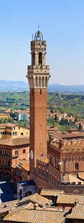 palazzo: Panorama (HighRes) of Siena Bell Tower, Palazzo Pubblico (Palazzo Comunale), Italy Stock Photo
