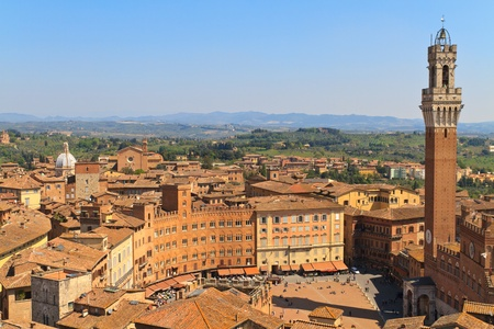 siena italy: Piazza del Campo with Palazzo Pubblico, Siena, Italy Stock Photo