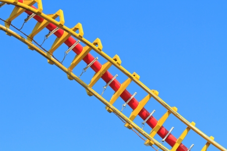 roller coaster: Rollercoaser  against blue sky  Stock Photo