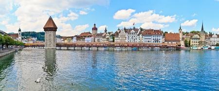 lucerne: Luzern view of Chapel Bridge Stock Photo