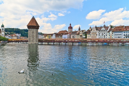 Luzern view of Chapel Bridge Stock Photo