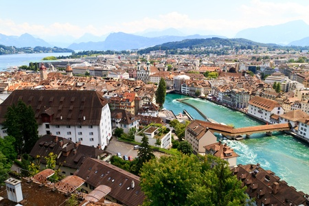 aerial views: Luzern City View from city walls with river Reuss, Switzerland Stock Photo