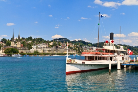 Lucerne City view with Steam Ship, Switzerland Stock Photo - 17507249