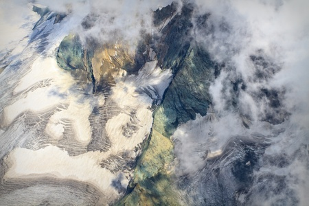 Aerial view of Glacier with clouds photo