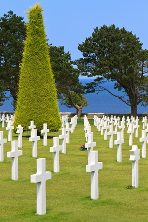 American War Cemetery in de buurt van Omaha Beach, Normandië (Colleville-sur-Mer) Stockfoto