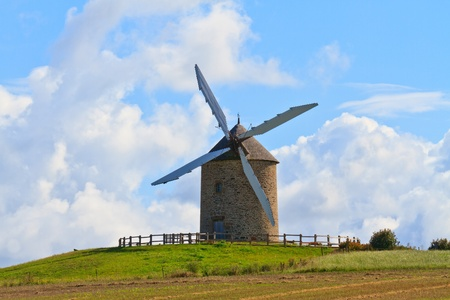Old windmill in France (Near Mont-Saint-Michel) Stock Photo - 11082043