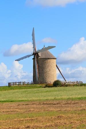 michel: Old windmill in France (Near Mont-Saint-Michel) Stock Photo