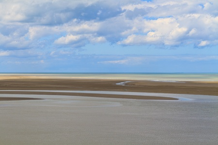 basse normandy: Mont Saint Michel Coastline, Normandy  Brittany, France