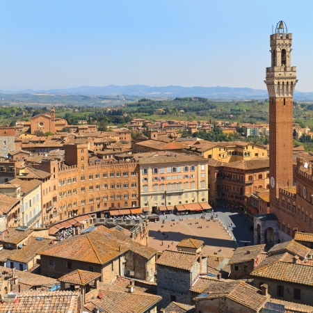 siena: Piazza del Campo with Palazzo Pubblico, Siena, Italy Stock Photo