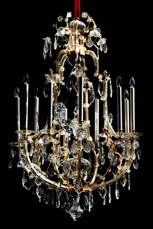 chandelier isolated: Beautiful Crystal Chandelier (black background)