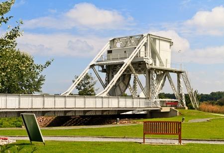 pegaso: Puente Pegasus, Normand�a, Francia, uno de los objetivos de los desembarcos del D�a D Foto de archivo