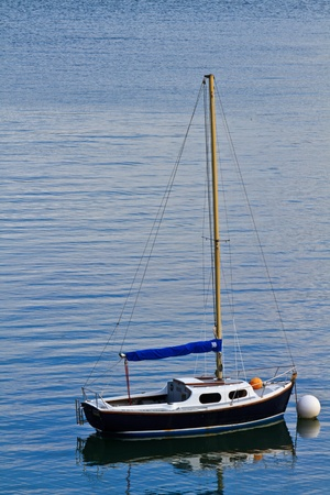 Single mast boat moored in a harbor photo