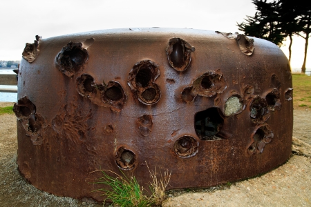 gun shell: Fortification of the atlantic wall from world war 2  France