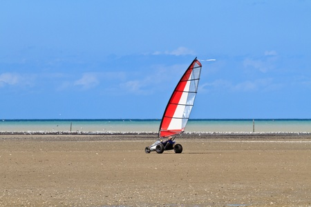 Land sailing on the a beach in Brittany,  France (Char à voile) Stock Photo