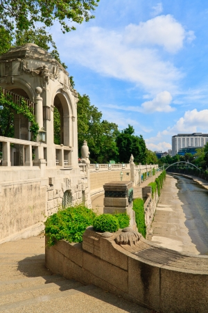 u bahn: Entrance to the famous subway station in the Vienna city park  Stadtpark  built by otto wagner