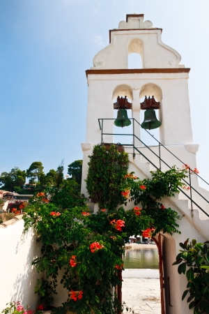 kerkyra: White Church bell tower in Greece  Corfu   Kerkyra  Stock Photo