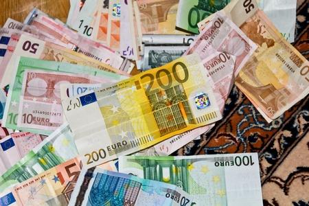 spreaded: Euro Banknotes spreaded on floor Stock Photo