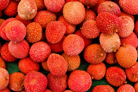 lychee: Closeup of fresh bunch of ripe and delicious Lychee fruits at local market