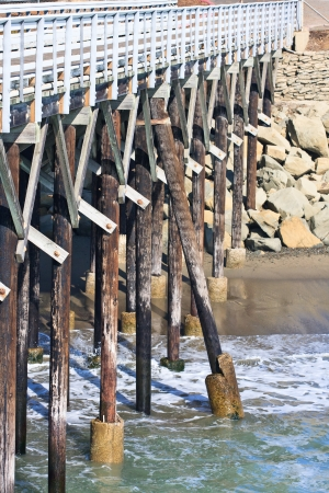 Detail view of beautiful old wooden pier photo