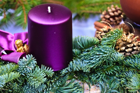 Candle of Christmas Advent Wreath (detail view) Stock Photo - 11392863