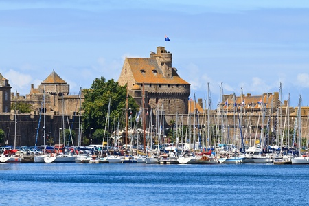 st  malo: St. Malo Fortifications and Harbor, Brittany, France Stock Photo