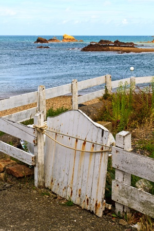 Old wooden white fence, French Atlantic Coast, Brittany, France Stock Photo - 12062364
