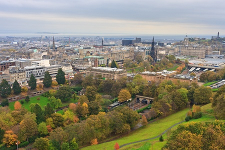 Edinburgh, View on city over Princes Street Gardens, Scotland photo