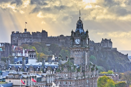 Edinburgh Castle and Balmoral Clock Tower at Dusk, Scotland photo