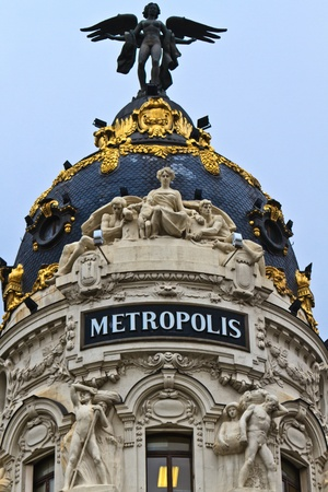Madrid, Spain - Metropolis Building - vintage office architecture in Romanesque Revival style Stock Photo - 12061995